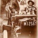 Family Portrait in Vintage Automobile, Coney Island Souvenir Real Photo Post Card RPPC - 2931