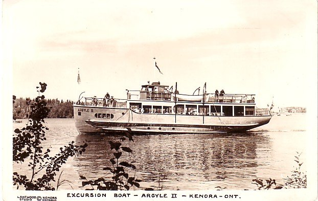 Excursion Boat, Argyle II at Kenora Ontario Canada, Real Photo Post Card RPPC - 2933