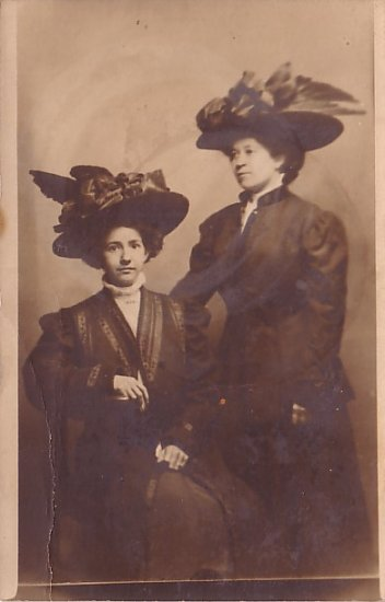 Two Women with Hats Decorated with Bird Wings, Real Photo Post Card RPPC - 2944
