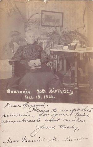 Mrs. Harriet M. Sweet 70th Birthday Souvenir, 1906 Real Photo Post Card RPPC - 2949