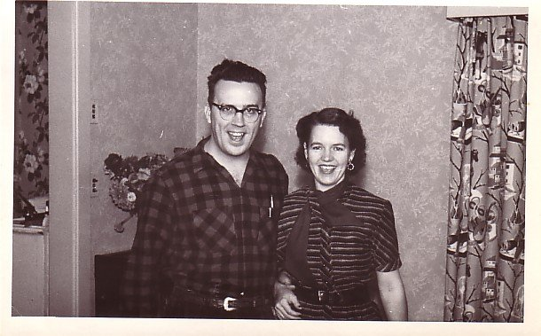 Happy Mid Century Couple, Real Photo Post Card RPPC - 2950