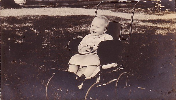 Carolyn of North Carolina in her Stroller, 1908 Real Photo Post Card RPPC - 2951