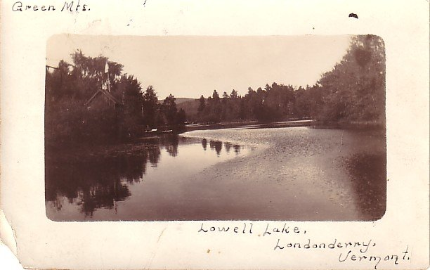 Lowell Lake Shore at Londonderry Vermont VT, Real Photo Post Card RPPC - 2955