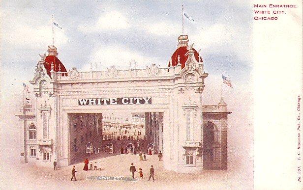 Main Entrance to White City Amusement Park at Chicago Illinois IL, Vintage Postcard