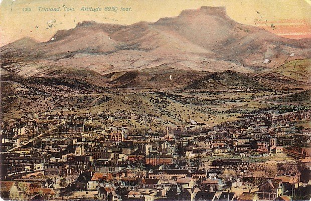 Air View of Trinidad Colorado CO, 1907 Vintage Postcard - 2982
