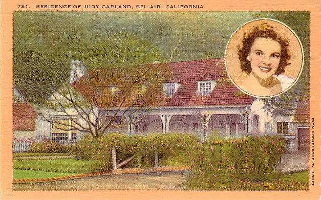 Residence of Judy Garland in Bel Air California CA, Linen Postcard - 2991
