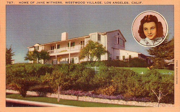 Home of Jane Withers at Westwood Village in Los Angeles California CA, Postcard - 2995