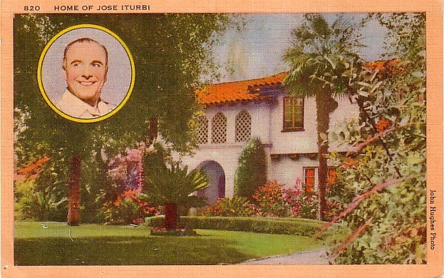 Home of Jose Iturbi, Mid Century Linen Postcard - 2997