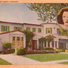 Home of Hedy Lamarr, Mid Century Linen Postcard - 2999