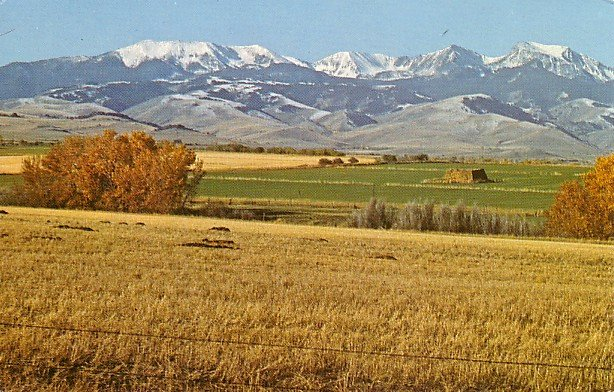 Tobacco Root Mountains between Whitehall and Ennis Montana MT Chrome Postcard - 3025