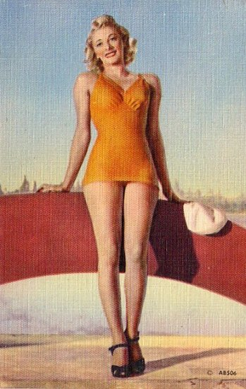 Bathing Beauty in Orange Swimsuit Linen Postcard - 3048