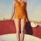 Bathing Beauty in Orange Swimsuit Linen Postcard - 3048