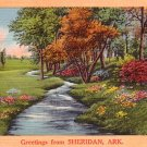 Greetings from Sheridan Arkansas AR, Mid Century Linen Postcard - 3051