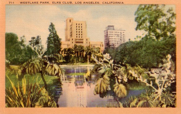 Westlake Park and Elks Club in Los Angeles California CA Linen 1949 Postcard - 3052