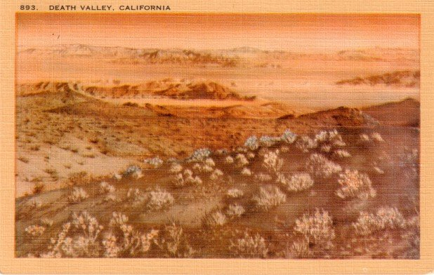 Death Valley at California CA, Mid Century Linen Postcard - 3053