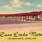 Casa Linda Motel in Salinas California CA, Mid Century Linen Postcard - 3056