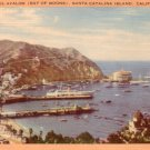 Beautiful Avalon, Bay of Moons in Santa Catalina Island California CA, Linen Postcard - 3058
