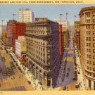 Market and Posts Streets From Montgomery in San Francisco California CA, 1932 Linen Postcard - 3063