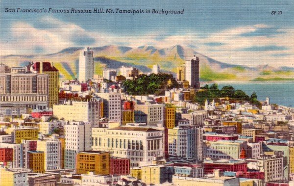 Russian Hill with View of Mount Tamalpais in San Francisco California CA, Linen 1958 Postcard - 3067