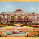 Exposition Auditorium and Civic Center in San Francisco California CA 1932 Linen Postcard - 3071