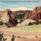 Pikes Peak from Gateway to the Garden of the gods in Colorado CO, Linen Postcard - 3083