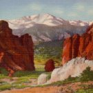 Pikes Peak Gateway to the Garden of the gods in Colorado CO, 1934 Curt Teich Linen Postcard - 3094