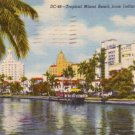 Miami Beach from Indian Creek in Florida FL, 1950 Curt Teich Linen Postcard - 3120