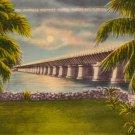 Overseas Highway Bridge at Pigeon Key Florida FL, Linen Postcard - 3121