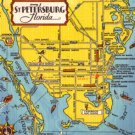 Map of St. Petersburg Florida FL, Tourist Attractions 1948 Linen Postcard - 3125