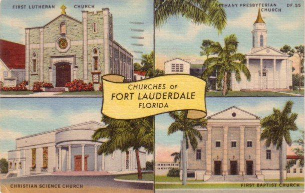 Churches of Fort Lauderdale Florida FL, Curt Teich Linen Postcard - 3126