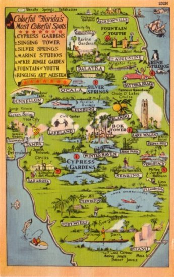 Colorful Tourist Attractions of Florida FL, Linen Map Postcard - 3129