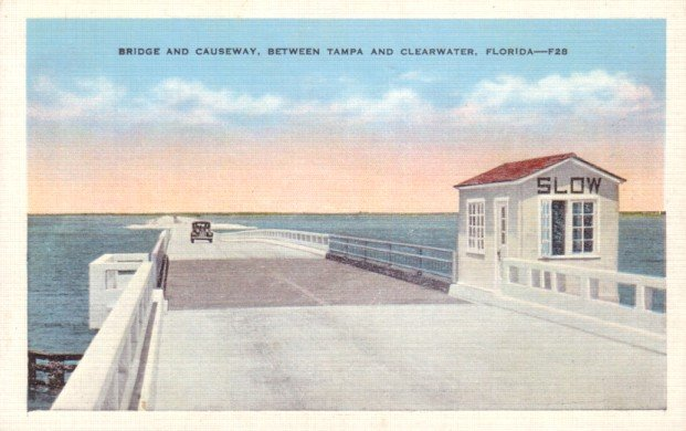 Bridge Causeway between Tampa and Clearwater Florida FL, Linen Postcard - 3131