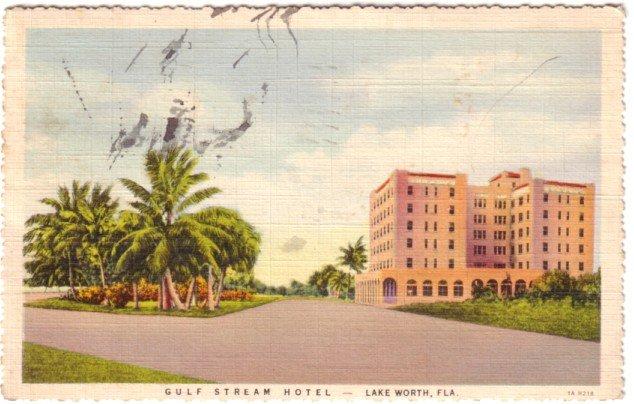Gulf Stream Hotel at Lake Worth Florida FL, 1931 Curt Teich Postcard - 3144
