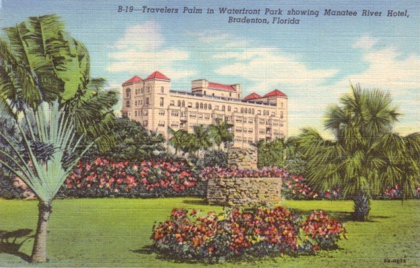 Waterfront Park Showing Manatee River Hotel in Bradenton Florida FL, 1948 Curt Teich Postcard - 3145