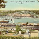 Julien Dubuque Bridge over the Mississippi River at Dubuque Iowa IA, Linen Postcard - 3186