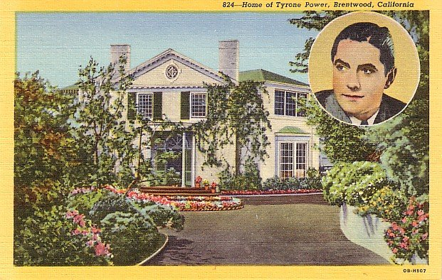 House of Tyronne Power in Brentwood California CA, 1940 Curt Teich Linen Postcard - 3194