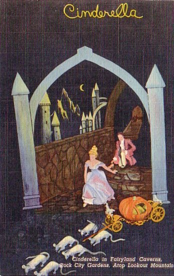 Cinderella in Fairyland Caverns at Rock City Gardens in Tennessee TN, Linen Postcard - 3211