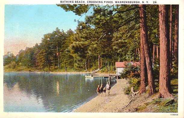 Crooning Pines Beach at Warrensburgh New York NY, Curt Teich Vintage Postcard - 3227
