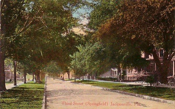 Third Street in Jacksonville Florida FL, Vintage Postcard - 3233