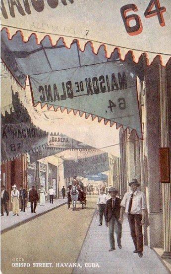 Obispo Street in Havana Cuba, Curt Teich Vintage Postcard - 3286