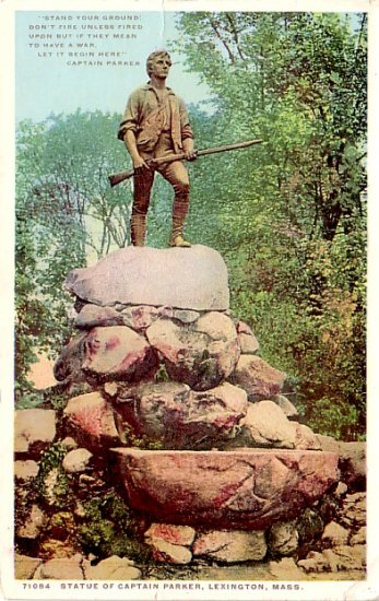 Statue of Captain Parker in Lexington Massachusetts MA, Detroit Publishing Co. Postcard - 3308