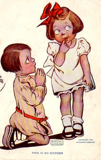 This Is So Sudden, Marriage Proposal by Katherine Gassaway, 1909 Vintage Postcard - 3315