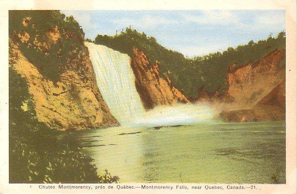 Montmorency Falls near Quebec Canada, Vintage Postcard - 3319