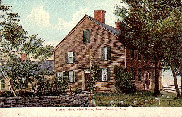 Nathan Hale Birth Place in South Coventry Connecticut CT, Vintage Postcard - 3321