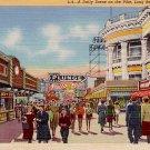 Scene on The Pike Amusement Center in Long Beach California CA, 1940 Curt Teich Postcard - 3325