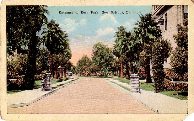 Entrance to Rosa Park in New Orleans Louisiana LA, Vintage Postcard - 3326