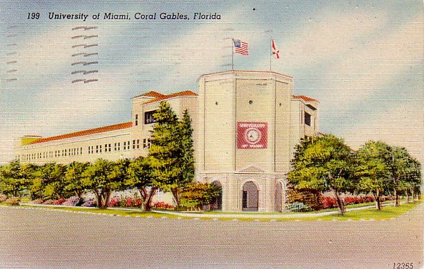 University of Miami Stadium in Coral Gables Florida FL, Linen Postcard - 3331