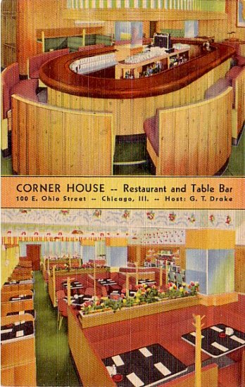 Corner House Restaurant and Table Bar in Chicago Illinois, Linen Postcard - 3332