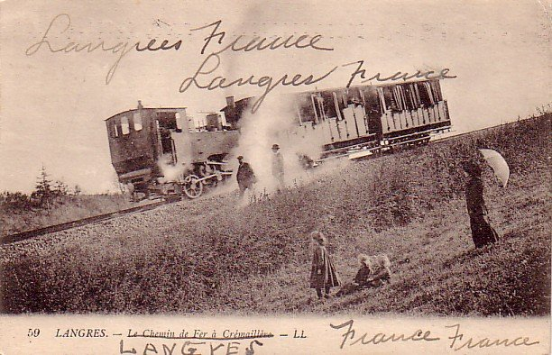 Pushing the Railroad Car up the Hill in Langres France, Vintage Postcard - 3334
