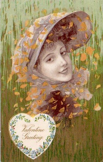 Pretty Lady in Hat Valentine Greeting, John O. Winsch Vintage Postcard - 3342